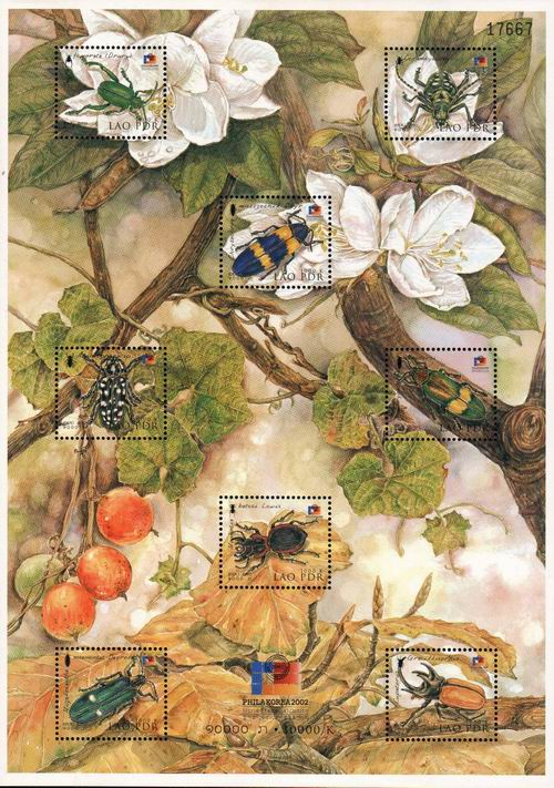 Laos 2002 Stamp Sheet Insects
