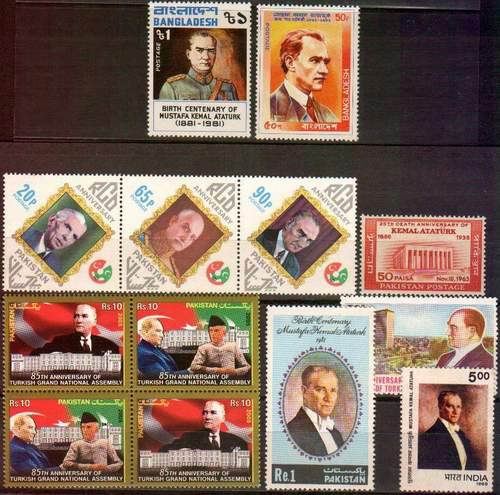 Bangladesh India Pakistan Stamps Kemal Ataturk