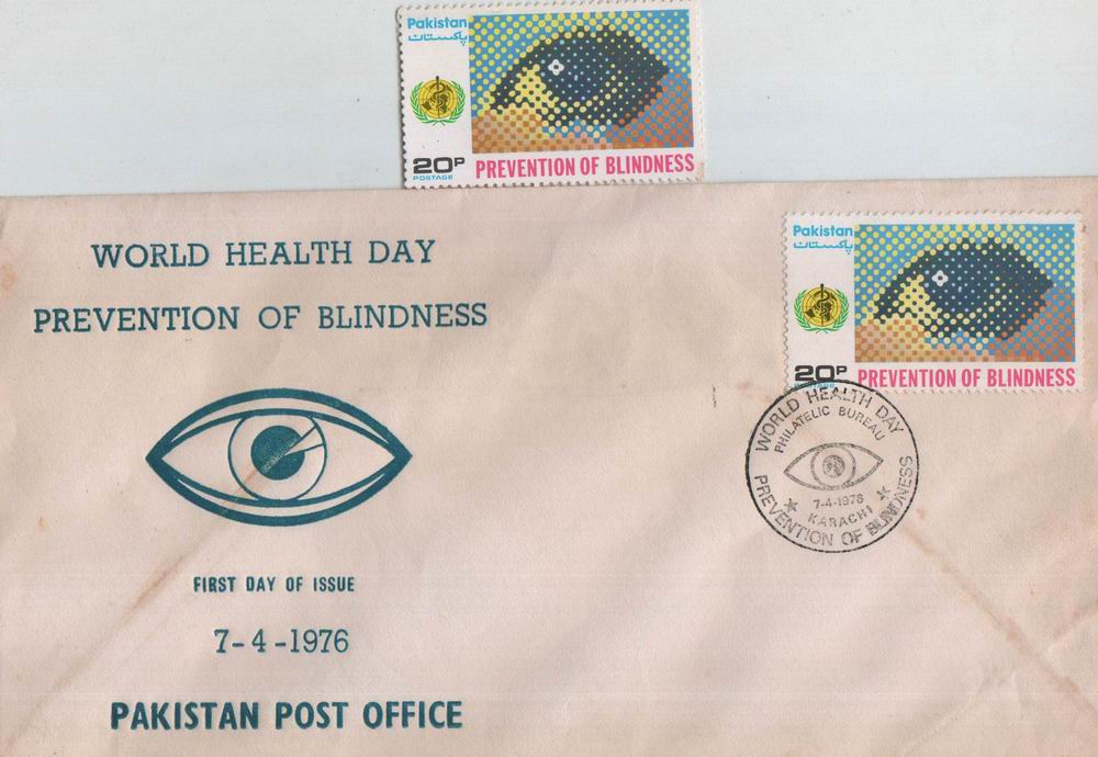 Pakistan Fdc 1976 & Stamp World Health Day Eye Blindnes