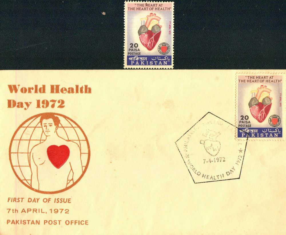 Pakistan Fdc 1972 & Stamp World Health Day Heart
