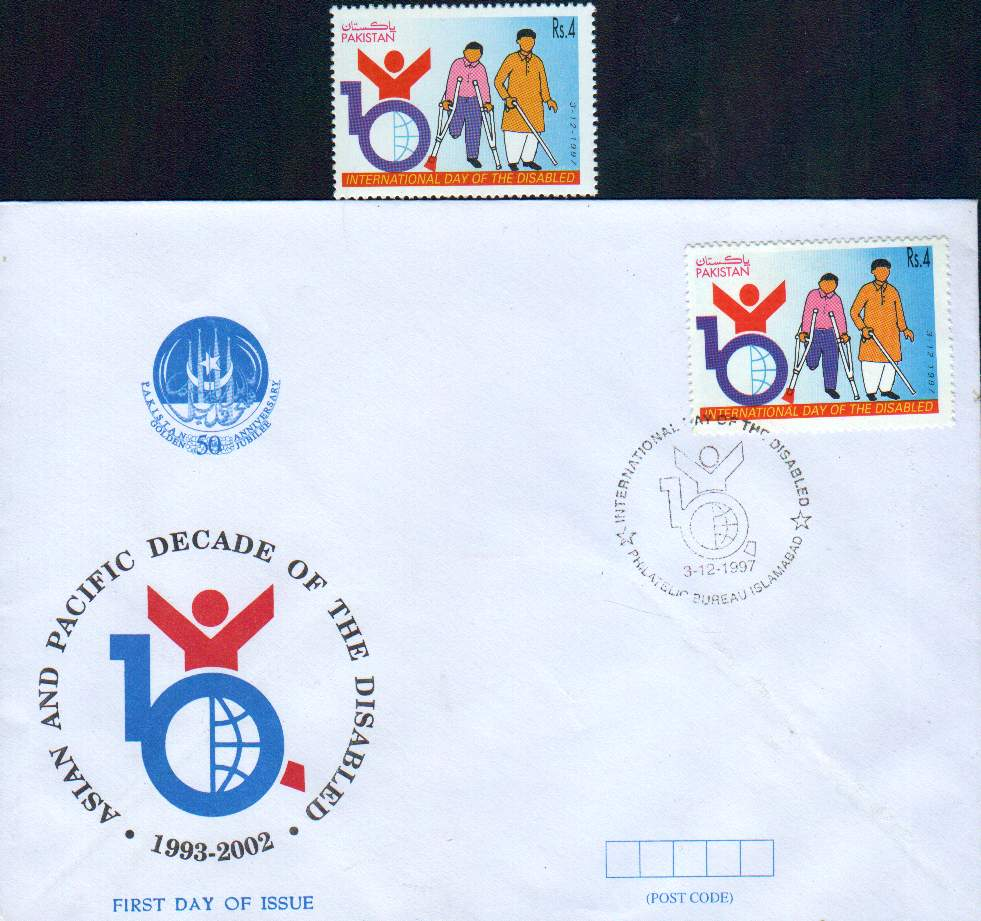 Pakistan Fdc 1997 & Stamp International Year Of Disabled