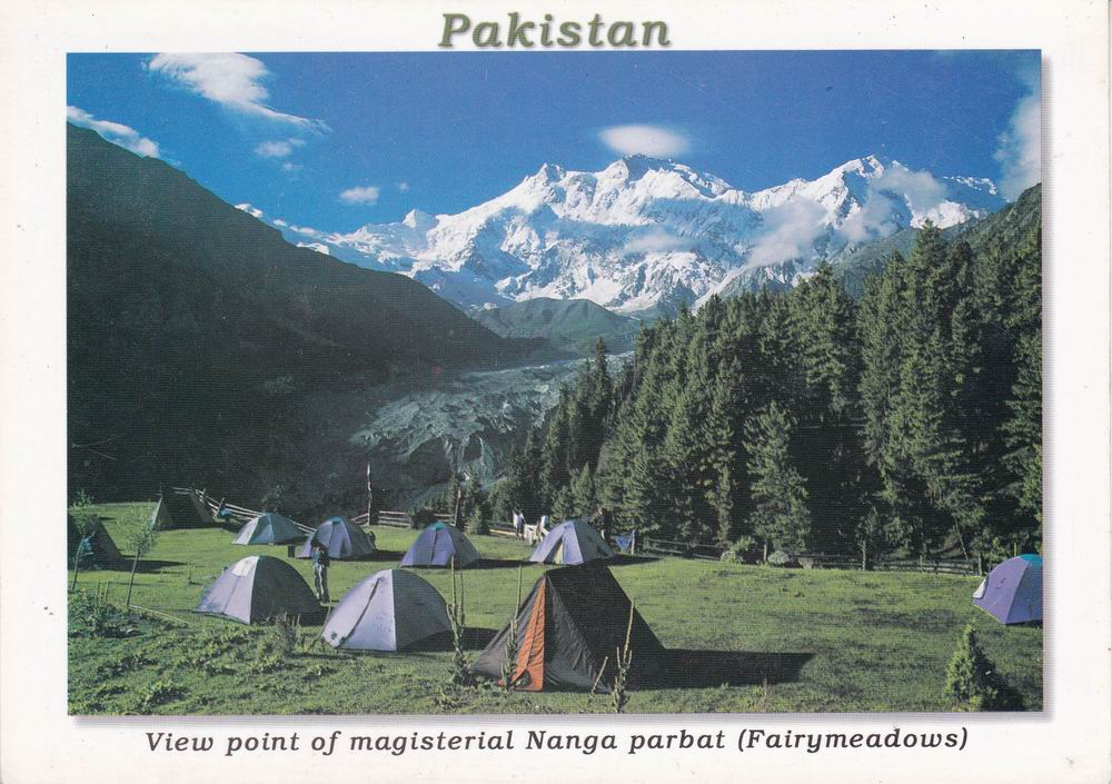 Pakistan Beautiful Postcard Campsite Nanga Parbat
