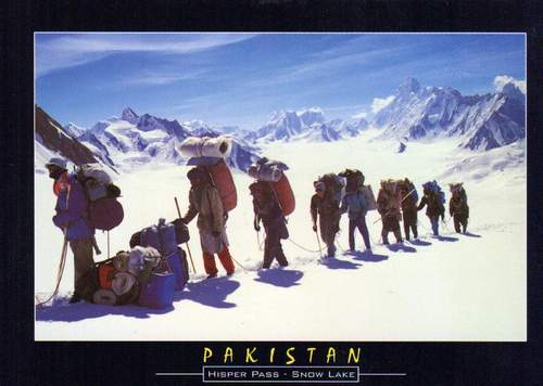 Pakistan Beautiful Postcard Trekking In Hisper Track