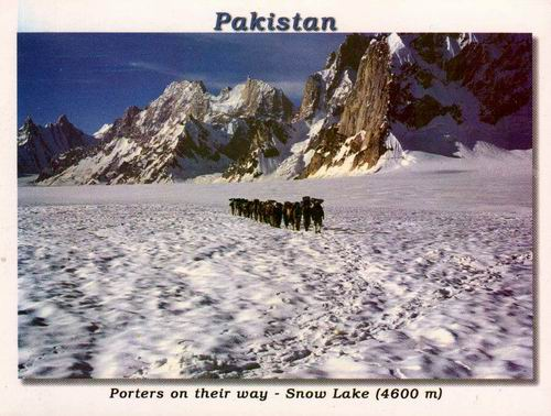 Pakistan Beautiful Postcard Porters On Snow Lake