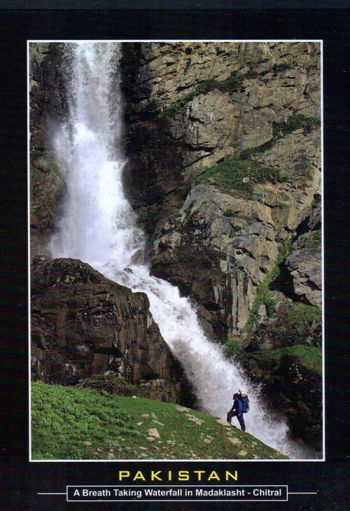 Pakistan Beautiful Postcard Breathtaking Waterfall Chitral