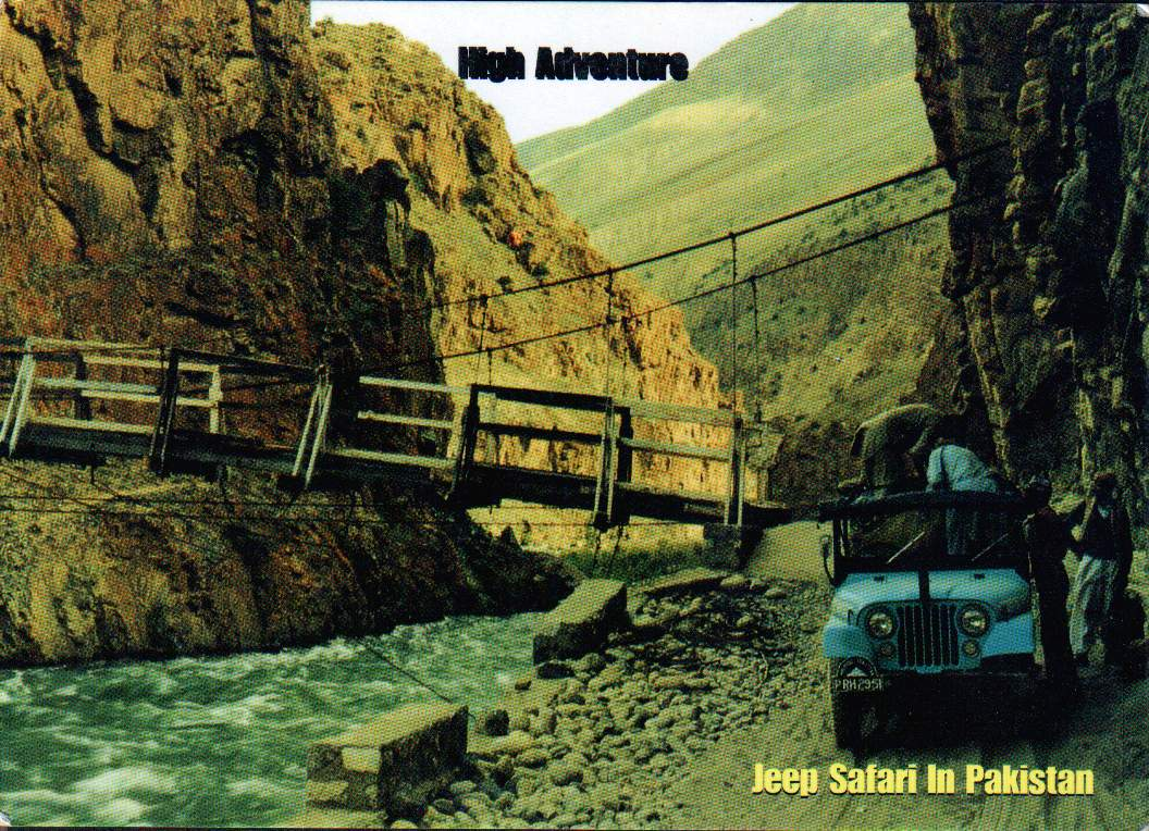 Pakistan Beautiful Postcard Safari Jeep In Mountain Valleys