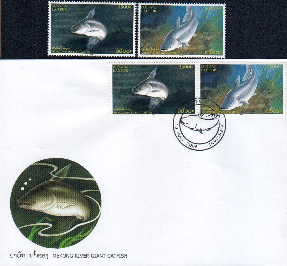 Laos Fdc 2005 & Stamps Mekong River Giant Catfish