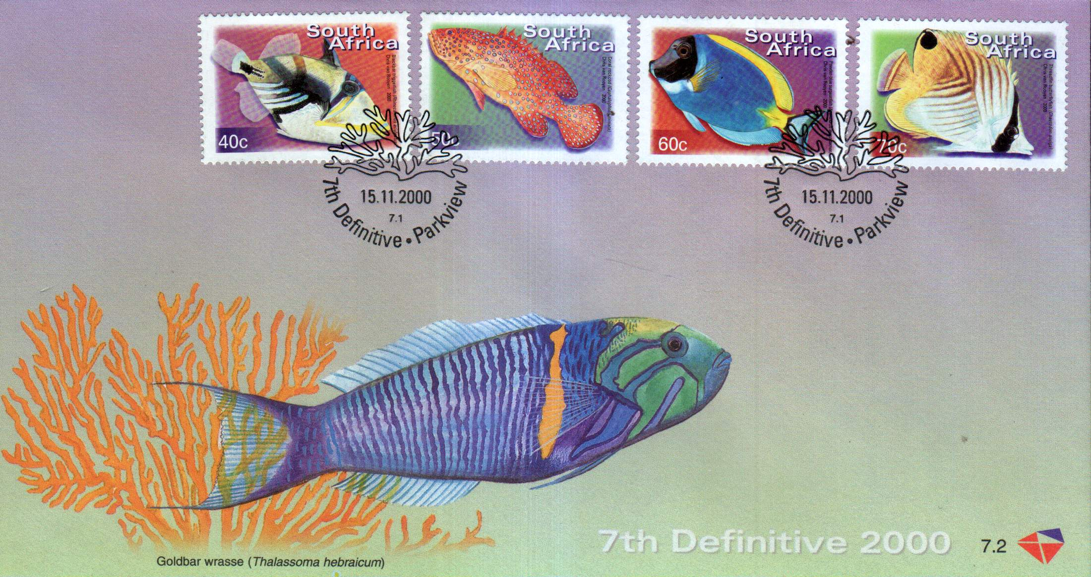 South Africa 2000 Fdcs Fishes