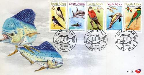 South Africa 1999 Fdcs Marine Life Fishes Birds