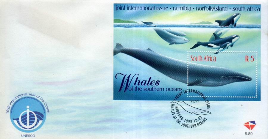South Africa 1998 Fdc Whales Of Southern Ocean