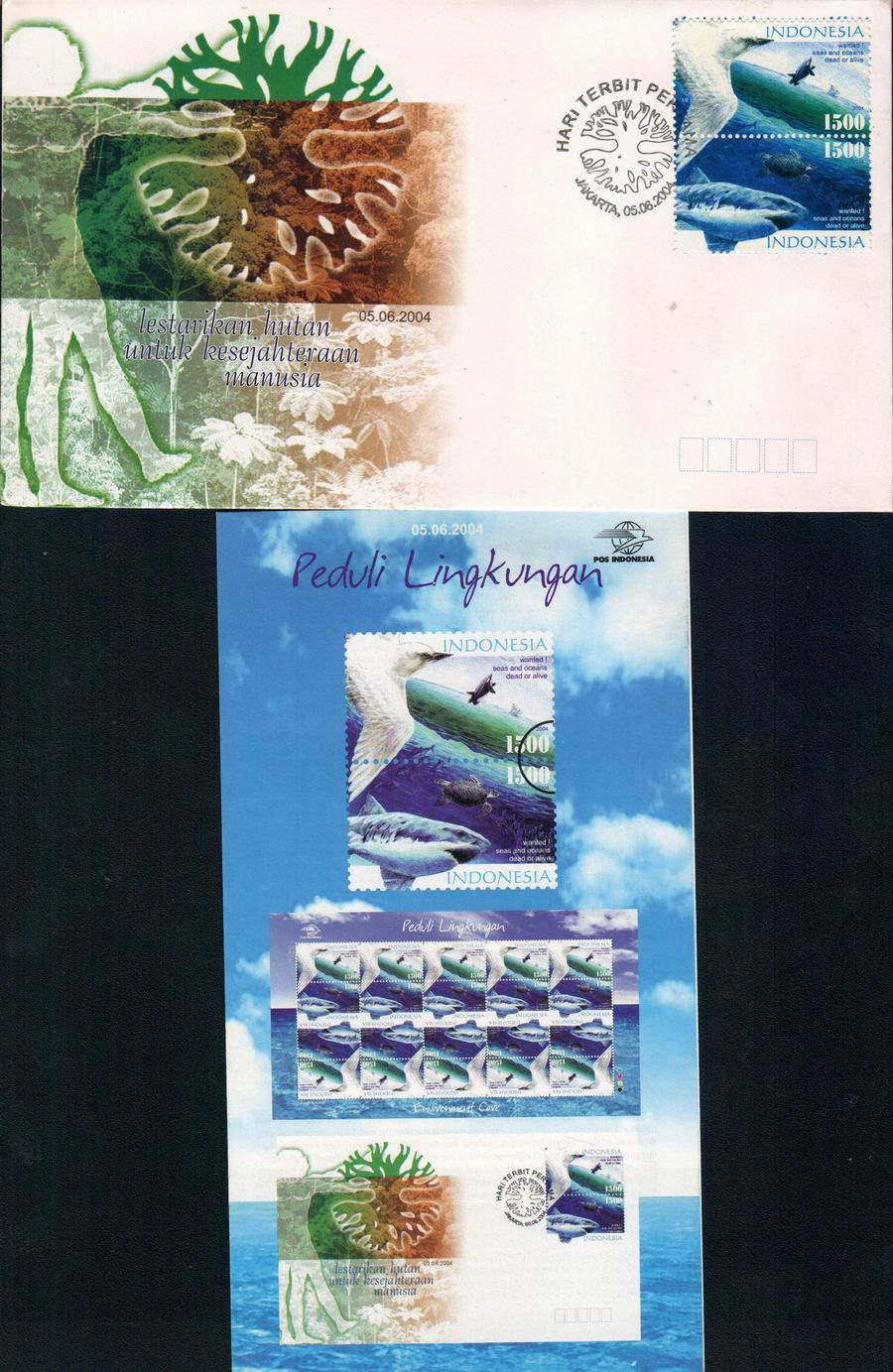 Indonesia 2004 Fdc Environment Care Sharks