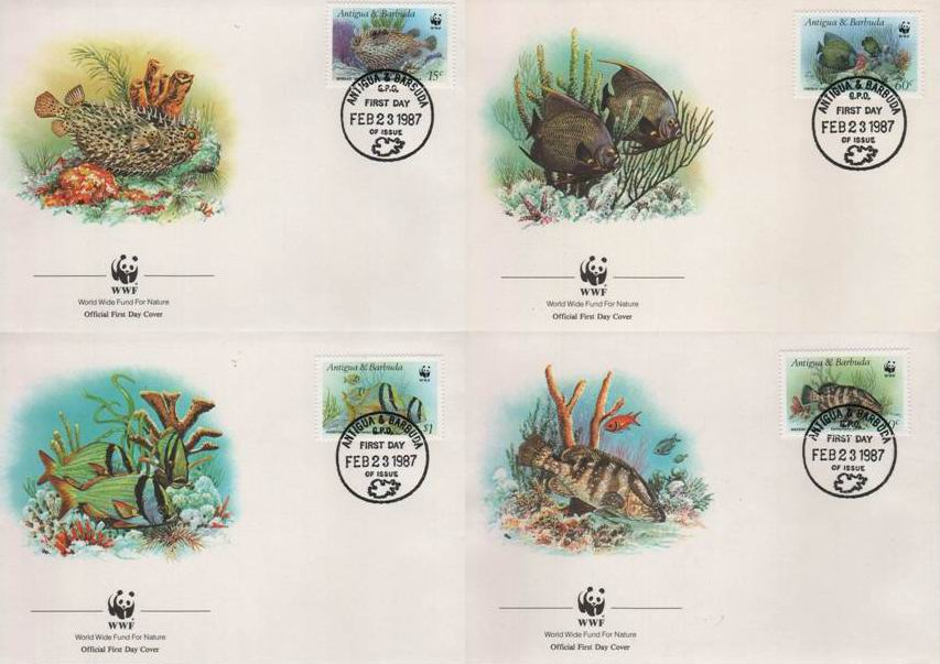 WWF Antigua & Barbuda Fdc 1986 Fishes