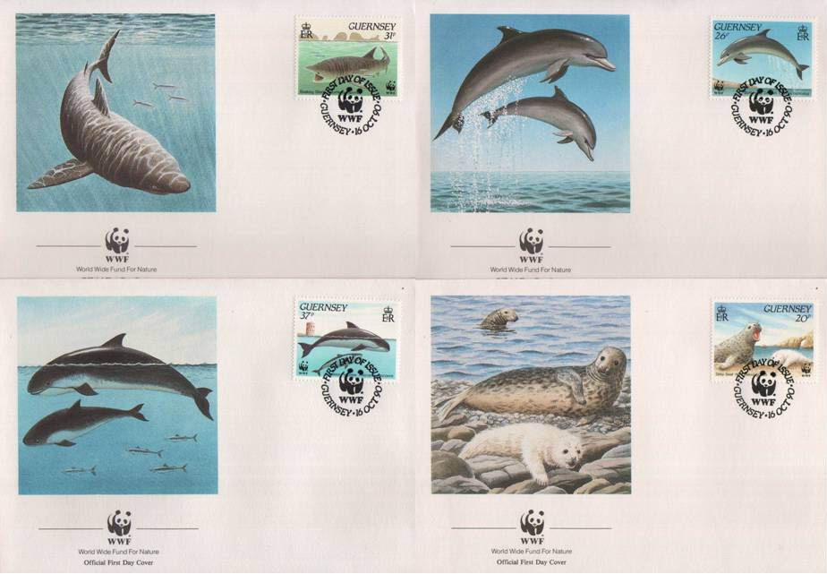 WWF Guernsey Fdc 1990 Dolphin Grey Seal Etc
