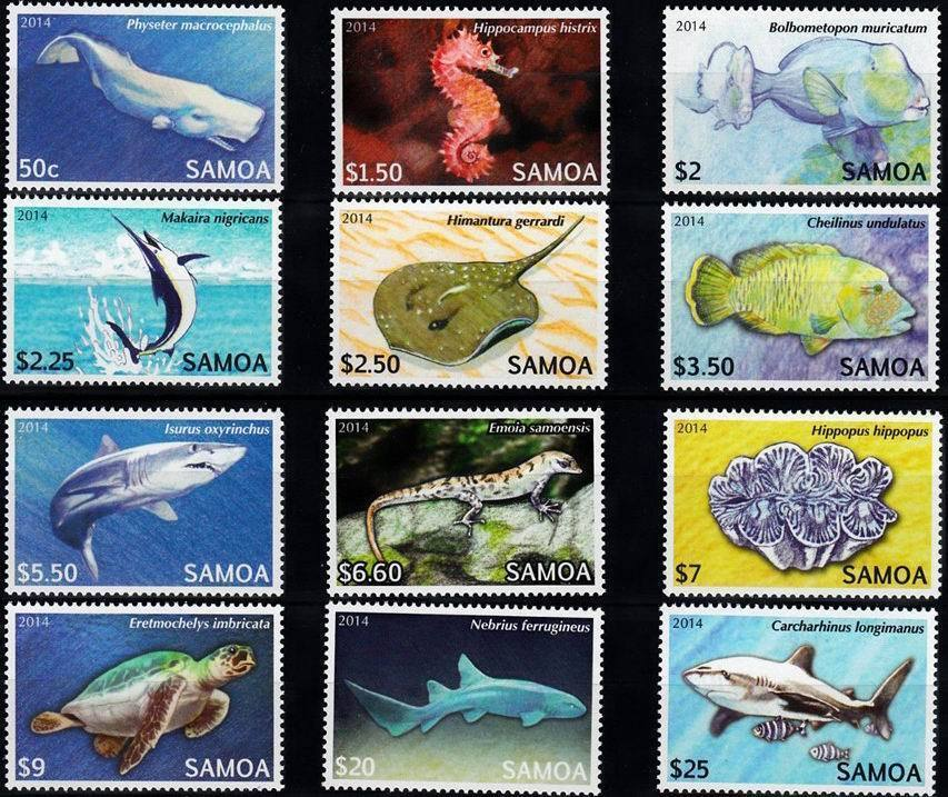 Samoa 2014 Stamps Marine Life Fish Turtles Sharks MNH