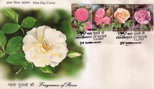 India Fdc 2007 Fragrance Of Roses In Stamps