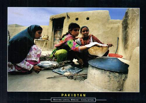 Pakistan Beautiful Postcard Bread Baking At Village House