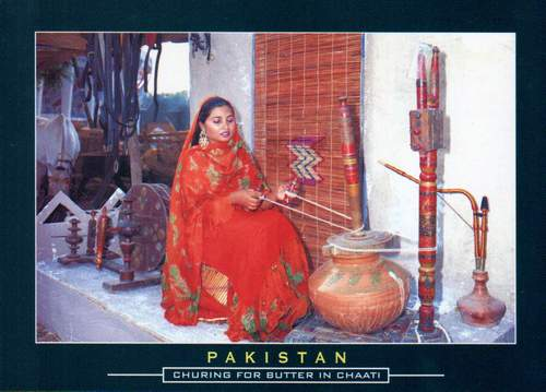 Pakistan Beautiful Postcard Churning For Butter In Chaati