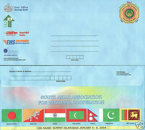 Pakistan Aerogramme 12th Saarc Summit Islamabad Flags Nepal Etc