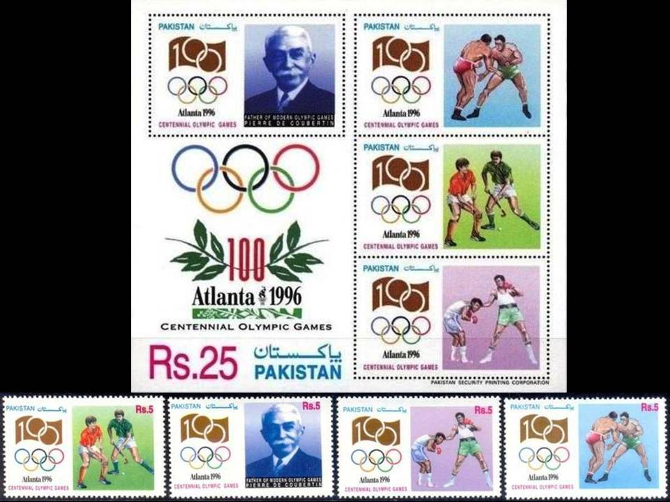 Pakistan Stamps 1996 Atlanta Olympics Hockey Wrestling