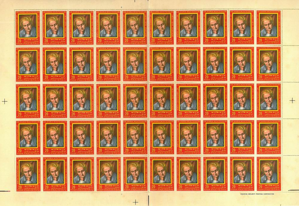 Pakistan Stamps Sheet 1970 Dr Maria Montessori