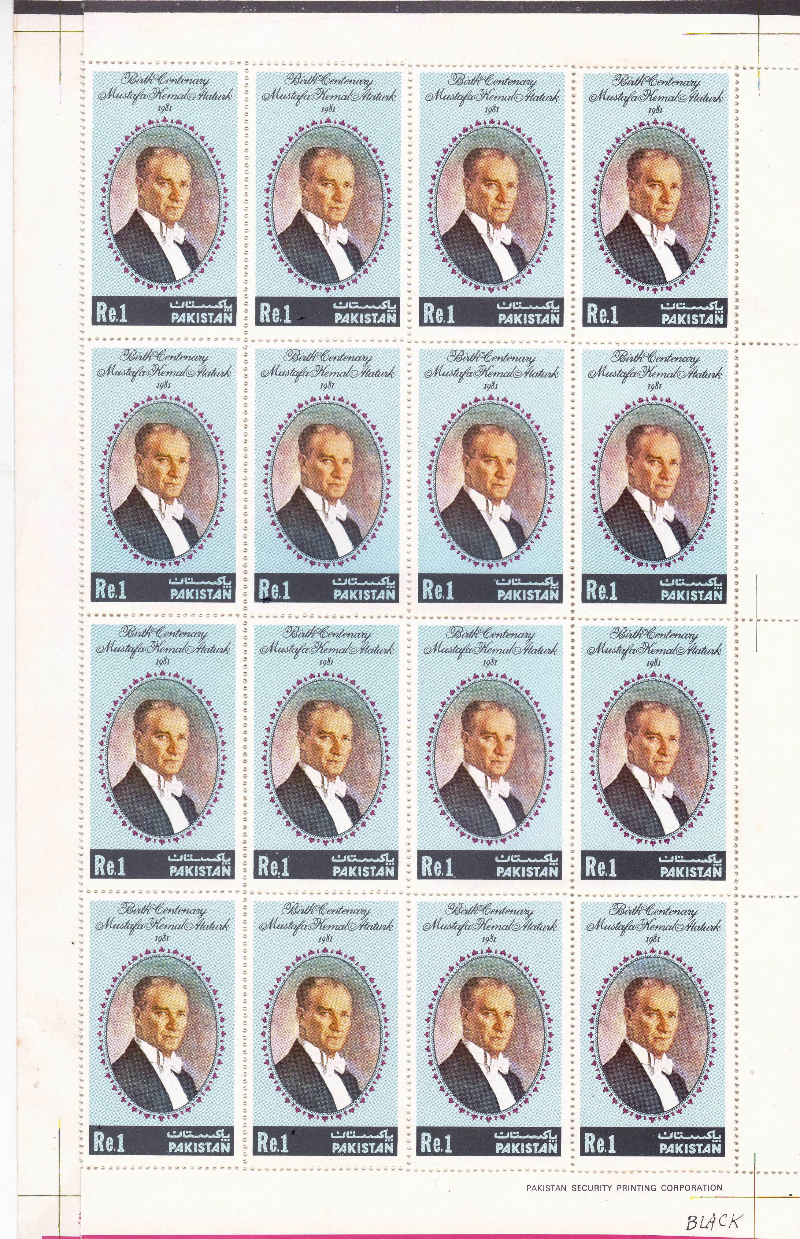 Pakistan Stamps Sheet 1981 Kemal Staturk
