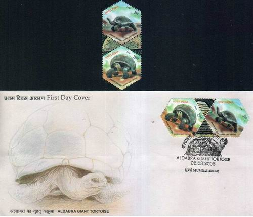 India Fdc 2008 Brochure & Stamps Aldabra Giant Tortoise