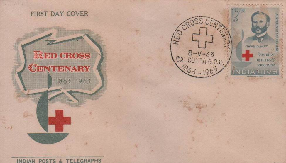 India Fdc 1963 Red Cross Centenary