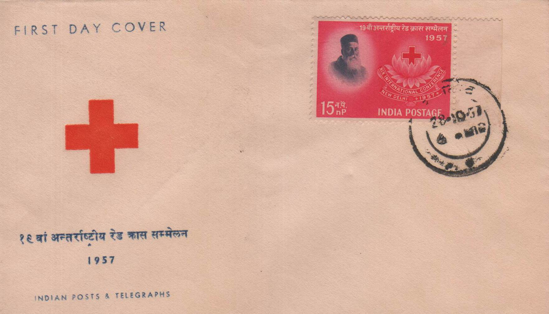 India Fdc 1957 Rd Cross Henry Dunant