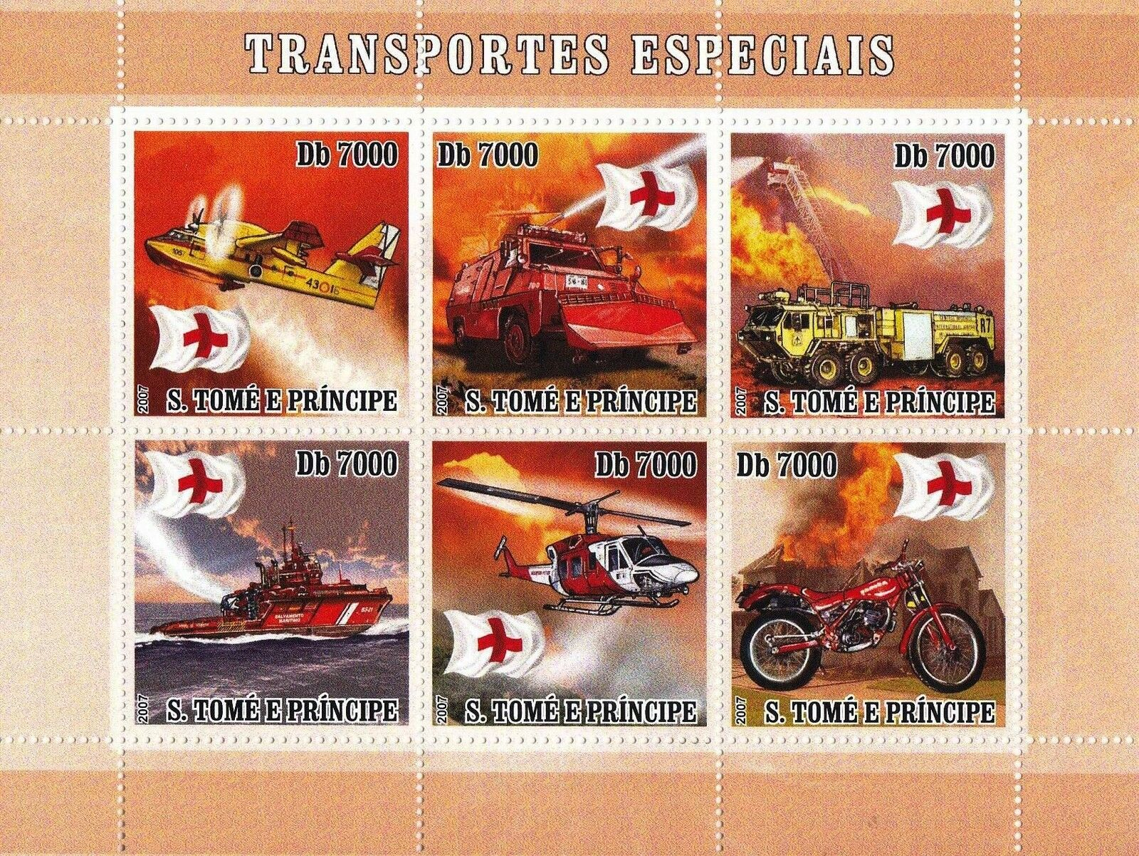 Sao Tome e Principe 2007 Stamp Red Cross Special Transports MNH