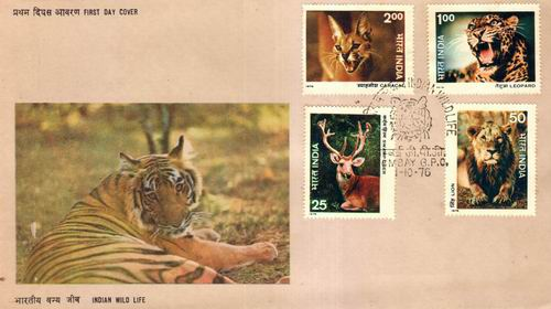 India 1976 Fdc & Stamps Wildlife Lions Tiger Leopard Cat