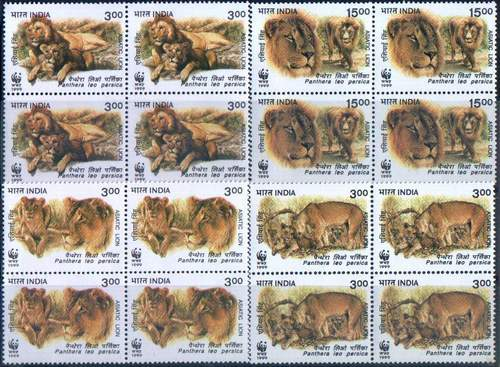India 1999 WWF Stamps Asiatic Lions