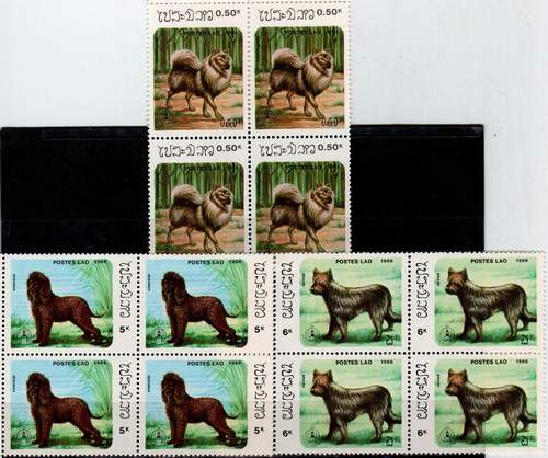 Laos 1986 Stamps Dogs Pets 7v Set MNH
