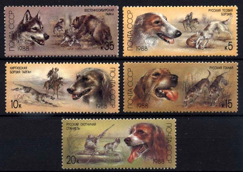 Russia 1988 Stamps Hunting Dogs MNH