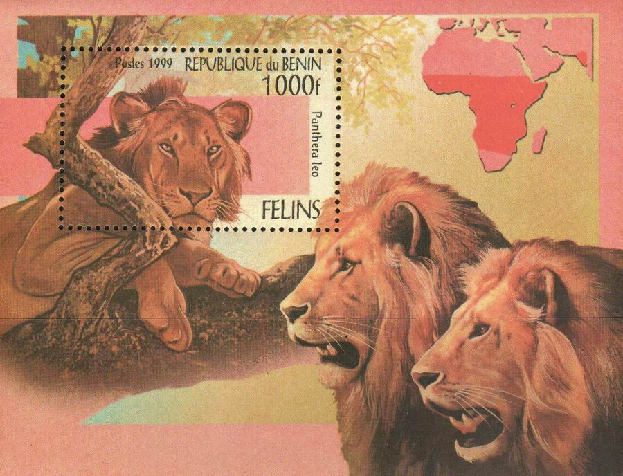 Benin 1999 S/Sheet Stamp Wild Cats Lions