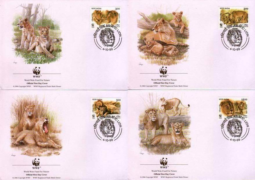 WWF India 1989 Beautiful Fdcs & Stamps Asiatic Lions