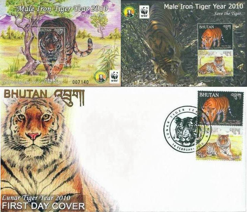 WWF Bhutan 2010 WWF Year Of Tiger Fdc + 2 S/Sheets Complete Set