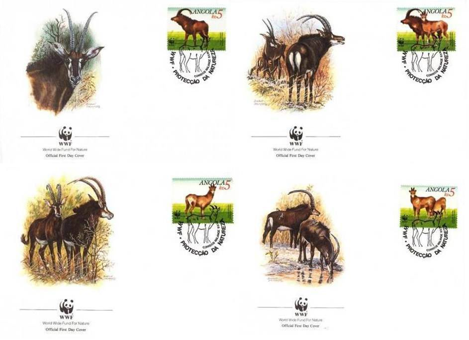 WWF Angola 1990 Beautiful Fdc Giant Sable Antelope