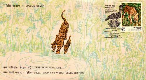 India 1978 Fdc Preserve Wildlife Tigers