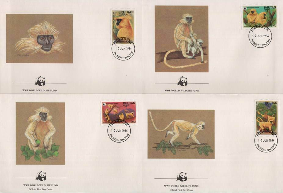 WWF Bhutan 1984 Beautiful Fdc Golden Langur