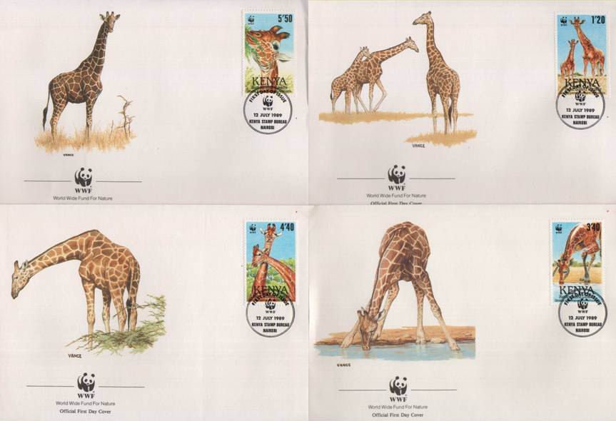 WWF Kenya 1989 Beautiful Fdc Giraffe