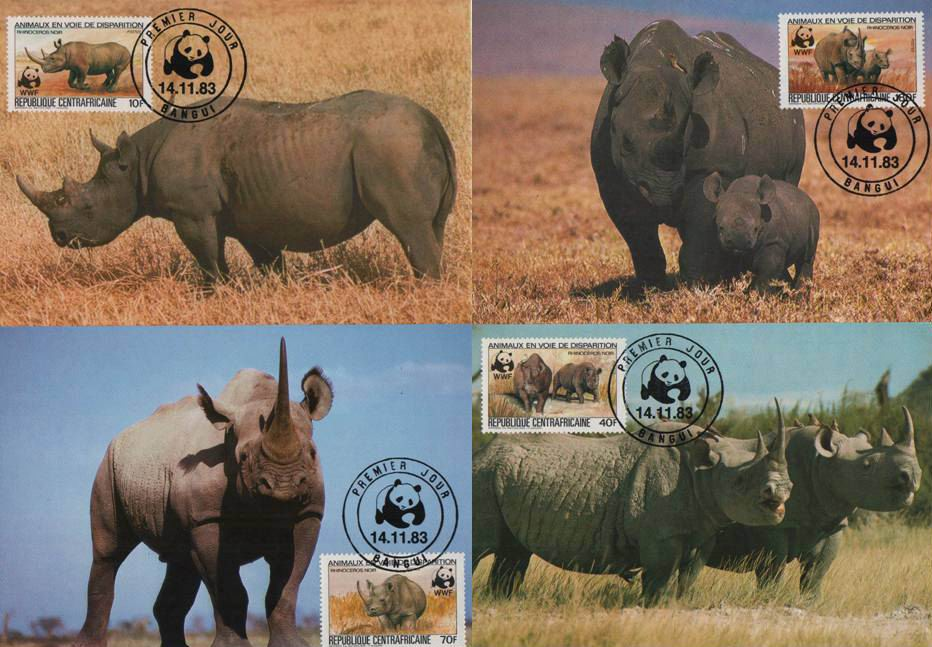 WWF Central Africa 1983 Beautiful Maxi Cards Rhinoceros