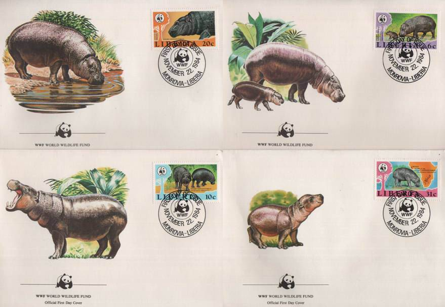 WWF Liberia 1984 Beautiful Fdc Hippopotamus