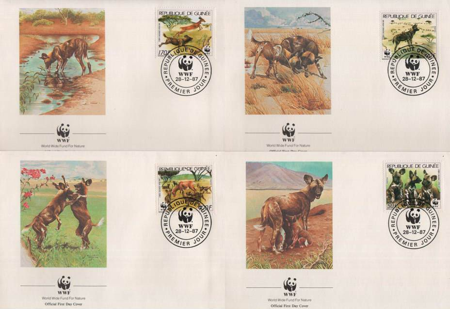 WWF Guinee 1987 Beautiful Fdc African Wild Dogs