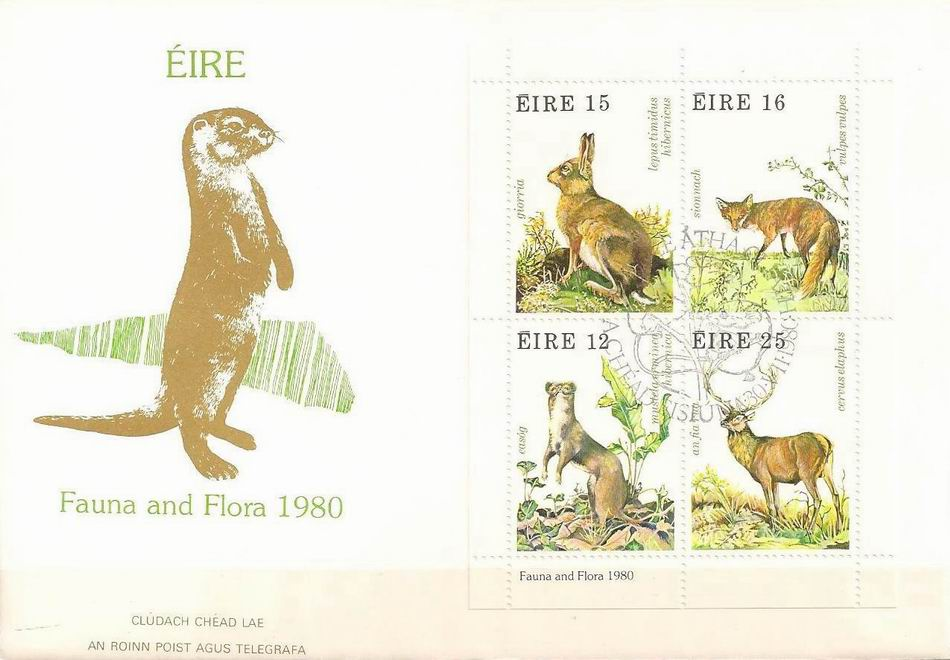 Eireland 1980 Fdc Rabbit Fox Squirrel Etc