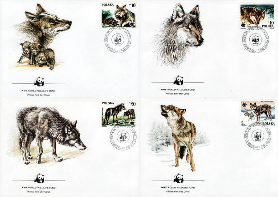WWF Poland 1985 Beautiful Fdc Endangered Wolves