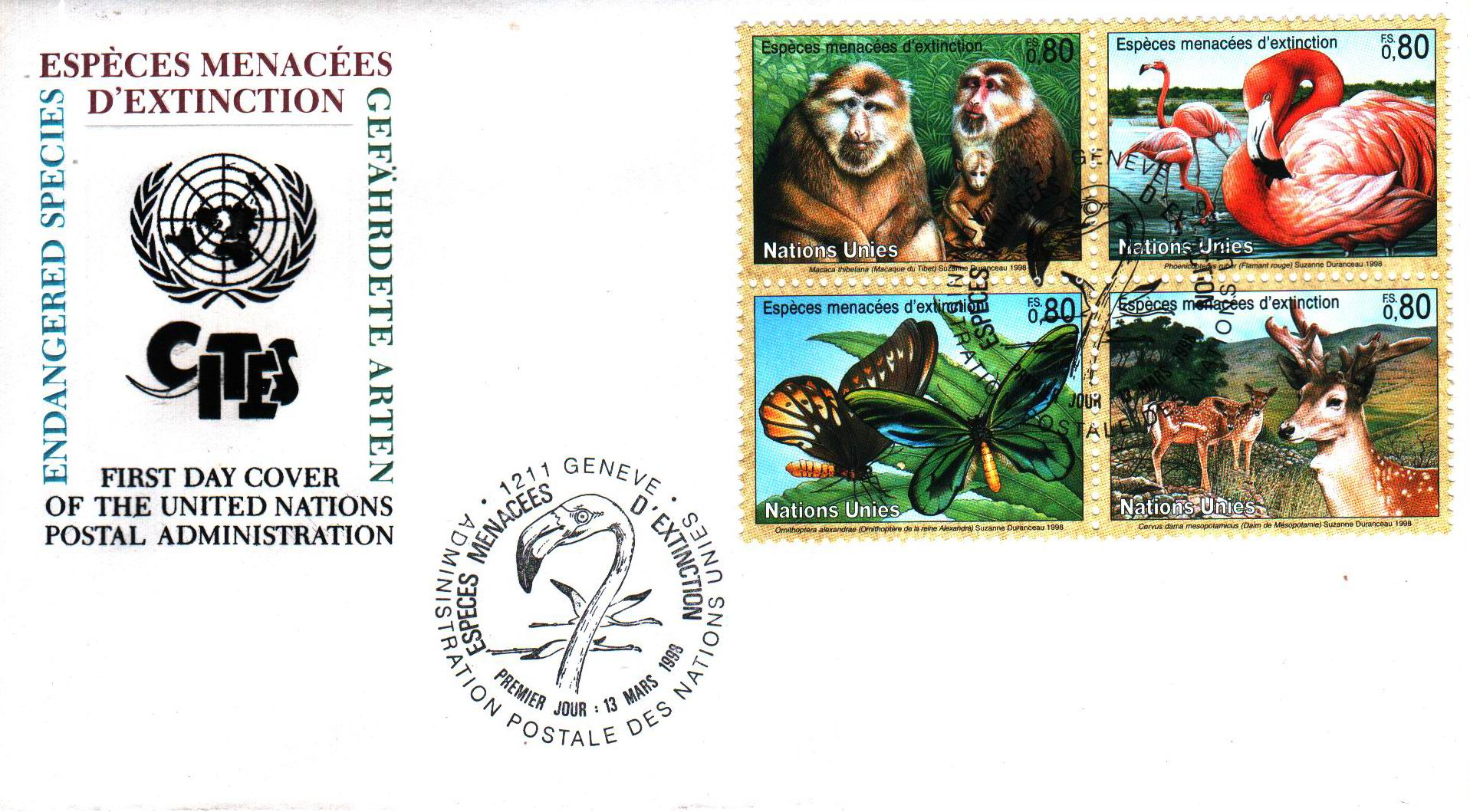 United Nation 1993 Fdc Preserve Wildlife Butterfly Pelicans