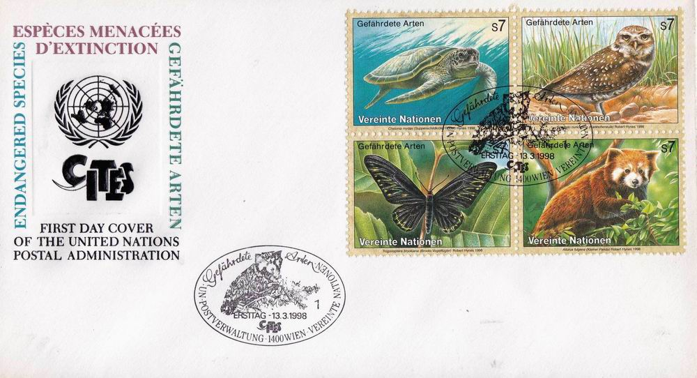 United Nation 1993 Fdc Preserve Wildlife Butterfly Owl
