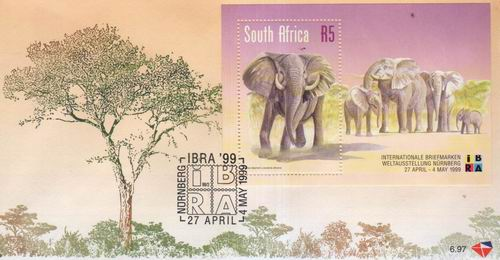 South Africa 1999 Fdc Elephants