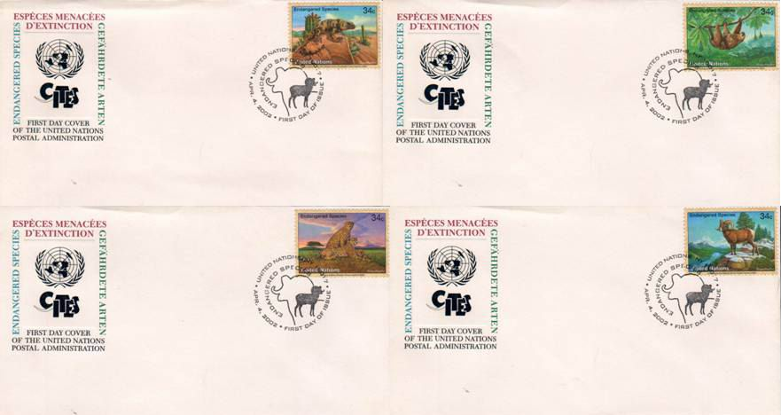 United Nations 2002 Fdcs Endangered Species