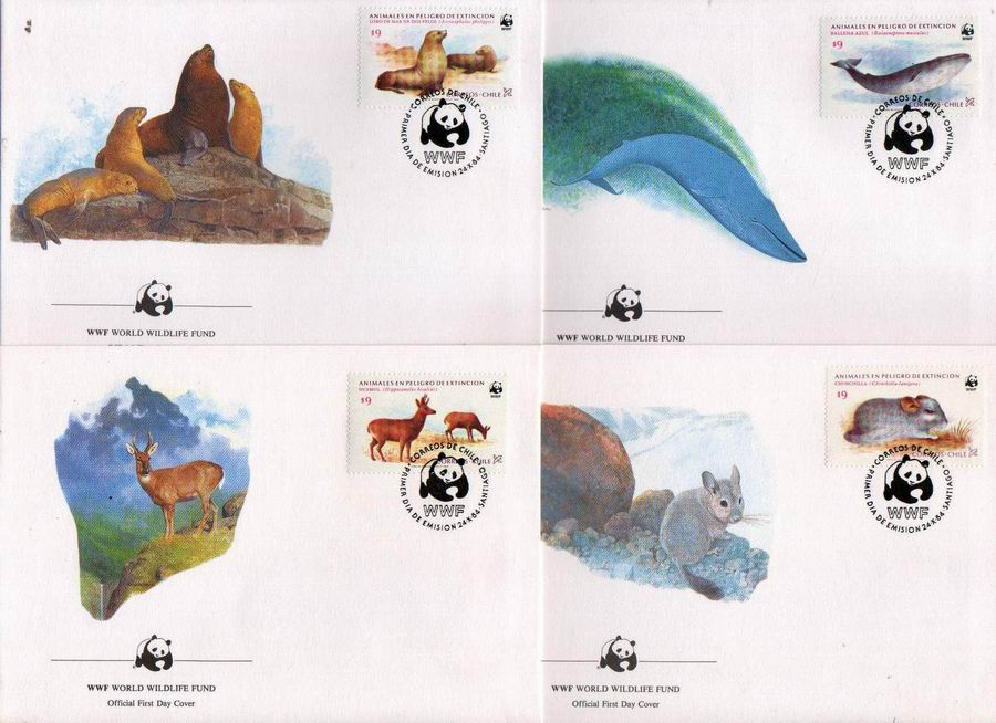 WWF Chile 1984 Beautiful Fdc Deer Whales Seals Etc